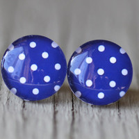 Fake Plugs : Blue and White Polka Dot Stud Earrings, Summer, ArtisanTree, Bohemian, Boho, Fun, 12mm