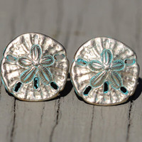 Sand Dollar Stud Earrings : Beach Wedding, Gold Stud Earrings with Teal Patina Finish, Summer, Boho, Bohemian, Fun, Cute, Artisan Tree