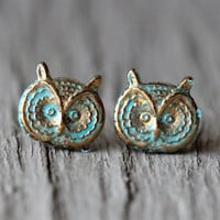 Owl Earrings : Patina Finished Owl Stud Earrings, Brass, Bird, Cute, Summer, Fun, Artisan Tree, Unique, Fake Plugs