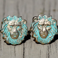 Lion Stud Earrings : Patina Finished Safari Earrings, Brass, Zoo, Cute, Summer, Fun, Artisan Tree, Unique, Lion Head