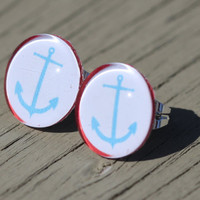 Anchor Studs : Blue, White and Red Nautical Glass Anchor Earrings, Fake Plugs, Beach, Summer, ArtisanTree