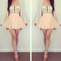 Beige Chiffon Mini Flirty Skater Skirt from Poison