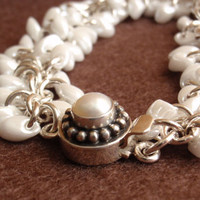 Shaggy Loops Bracelet White Magatama Beads Wedding by cutterstone