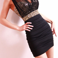 Sexy Black Mesh Sequined Slim Dress