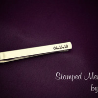 Today my life begins - Groom Present - Hand Stamped Customized Aluminum Tie Clip - Personalized with Wedding Date - Fathers Day Gift
