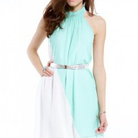 Belted Halter Chiffon Mini Dress