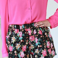 New spring floral print black mini short from zamong-boutique