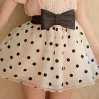 Sweet Dot Skirt with Bow from ABIGALE