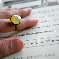 Vintage Jonquil Yellow Sabrina Glass Jewel Ring, Oxidized Brass, Czech Glass, Estate Style Ring, Round Jewel, Lemonade, Citrus
