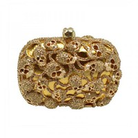 Golden Tone Skull Heads Embellishment Clutch Bag