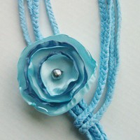 Scarf Lariat in Baby Blue with Two Tone Blue Flower One size Fits All | maidinvt - Accessories on ArtFire