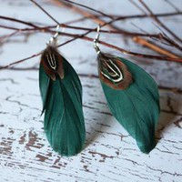 light in flight feather earrings in ivy green - $10.99 : ShopRuche.com, Vintage Inspired Clothing, Affordable Clothes, Eco friendly Fashion