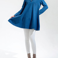 Personality Coat shirt/ cotton Cape Top in Blue