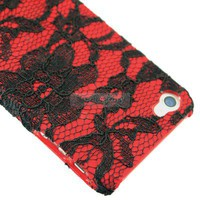 New Red Sexy lace Flower Design Rubber Hard Case Cover For iPhone 4 4S 47C