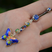 cloisonne butterfly belly ring DARK BLUE cloisonne beads in beach boho gypsy hippie belly dancer  fantasy beach hipster and fantasy style