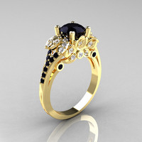 Classic 14K Yellow Gold 1.0 CT Black and White Diamond Blazer Wedding Ring R203-14KYGDBD