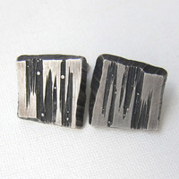 Vintage retro 1972 sterling silver Sten and Laine modernist cufflinks