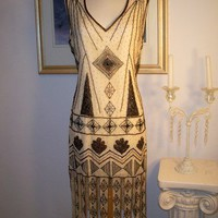 1920's Style GREAT GATSBY Nude/Bronze/Gold BEADED FLAPPER Dress-S,M,L,XL or Plus