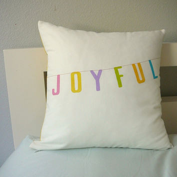 Joyful Pillow Cover by OliveHandmade on Etsy