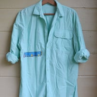 Vintage 1980s Mens OP Shirt Ocean Pacific Shirt Fish Heads Shirt Button Down Shirt Size Large