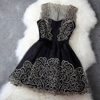 Hollow Out Perspective Dress With Lace