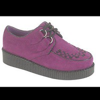 womens ladies Punk Hipster Goth Shoes Purple Faux Suede Creepers Size 5