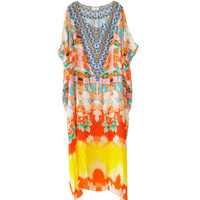 Camilla Kimono Print Round Neck Kaftan available at les pommettes los angeles