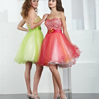 Short A-line Strapless Green Dress With Beads