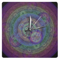 Jewel Toned Fractal Square Wall Clock from Zazzle.com