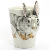 Bunny Rabbit Mug Ceramic Handmade Cup Hand Painted 00012