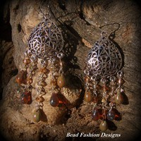 Spanish Style Ember Picasso Teardrop Earrings