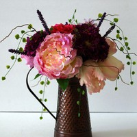 Silk Purple Roses, Pink Peonies and Zinnias In Copper Finish Vase