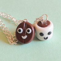 Coffee Best  Friends Necklace Set Coffee by PumpkinPyeBoutique