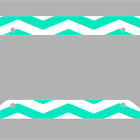 Mother's Day Sale- 12% off Entire Order -Mint Chevron License Plate Frame