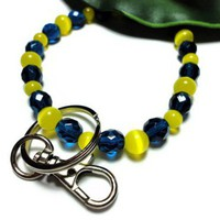 Keychain Key Holder Bracelet Wristlet Yellow Blue Strong Stretch Med