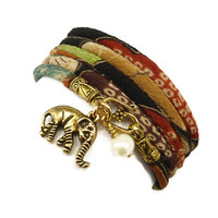 Lucky Elephant Japanese Wrap Bracelet