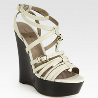 Burberry Prorsum - Prorsum Stone Leather & Canvas Wedge Sandals