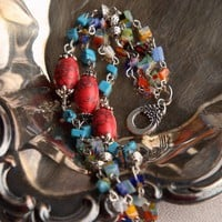 Handmade Blue and Red Howlite Turquoise and Millefiori Glass Bracelet   peaceloveandallthingsjewelry - Jewelry on ArtFire