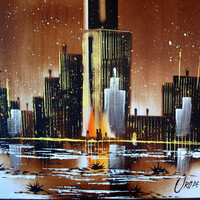 BIG CITY SCAPE Impressionism Painting Oil Canvas Original Modern Abstract Impressionist Signed Eduardo Oropeza Mid Century Artwork Night Sky