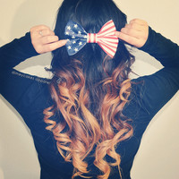 American Flag Hair Bow - Dimeycakes - Hair Bows, Cases, & Apparel