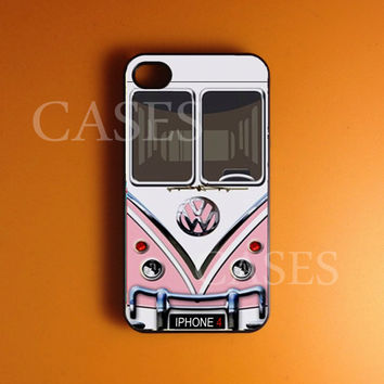 Iphone 4 Case, Volkswagen Pink Minibus Iphone 4s Case Cover, Best Unique Iphone Cases, Snap On Rubber or Hard Plastic Case