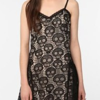UrbanOutfitters.com > Betsey Johnson Pink Label Rocker Skull Slip Dress