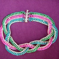 Quad-colour Bracelet Braided Half Persian 4 in 1 8.25 inches