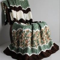 Afghan - Full Size Handmade Ripple Crochet Blanket - Green and Brown
