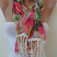 New - Colorful Flowered Scarf - with Beige Trim Edge