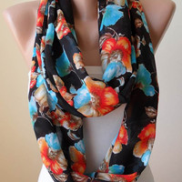 Orange Blue Black Floral Scarf-  Infinity Scarf -  Chiffon Fabric