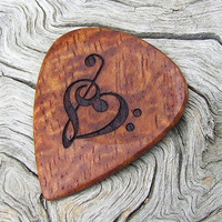 Afzelia Xylay Wood Guitar Pick - Handmade Laser Engraved with 2 Designs - Premium Guitar Pick