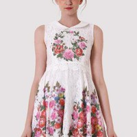 White Lace Retro Dress with Floral Detail & Peter Pan Collar