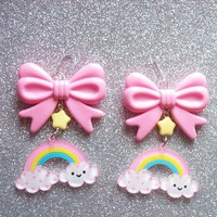 Sweet Skies - Happy Cloud and Rainbow with Star and Bow Earrings from On Secret Wings