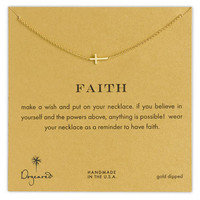 Dogeared 'Reminder - Faith' Boxed Sideways Cross Pendant Necklace